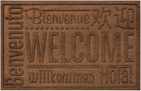 "Home Accents Aqua Shield 1'11"" x 3' Worldwide Welcome Indoor/Outdoor Doormat, Brown"