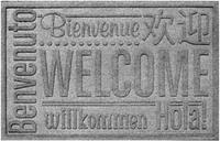 """Home Accents Aqua Shield 1'11"""" x 3' Worldwide Welcome Indoor/Outdoor Doormat, Charcoal"""