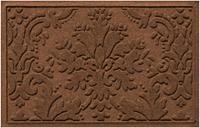 """Home Accents Aqua Shield 1'11"""" x 3' Damask Indoor/Outdoor Doormat, Brown"""