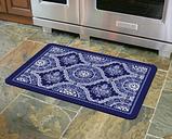 "Home Accents Premium Comfort 1'10"" x 2'7"" Deep Floral Mat, Blue"