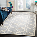 Cambridge 5' x 8' Wool Pile Rug, Silver/Ivory