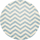 Round 5' x 5' Wool Pile Rug, Blue/Ivory