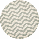 Round 5' x 5' Wool Pile Rug, Gray/Ivory