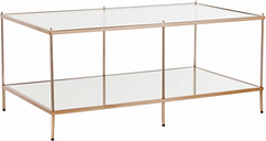 Gold Finished Glass Coffee Table, Gold