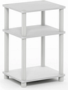 White and Black Just 3-Tier Turn-N-Tube End Table, White/Black