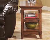 Cross Island Chairside End Table, Medium Brown