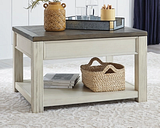 Bolanburg Coffee Table with Lift Top, Brown/White
