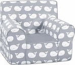 Toddler Classic Grab-n-go Whale Tales Foam Chair, Gray/White