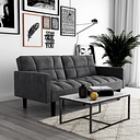Atwater Living Hanna Convertible Sofa Sleeper Futon with Arms, Gray
