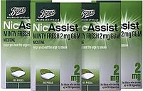 Boots NicAssist Minty Fresh 2 mg Gum - 4 x 105 Pieces Bundle
