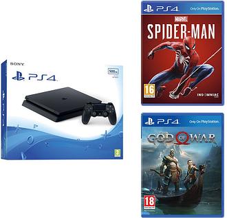 SONY PlayStation 4, Marvel's Spider-Man & God Of War Bundle - 500 GB