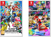NINTENDO SWITCH Super Smash Bros. Ultimate & Mario Kart 8 Deluxe Bundle, Red