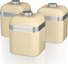 SWAN Retro SWKA1020CN 1-litre Canisters - Cream, Pack of 3, Cream