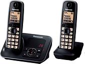 PANASONIC KX-TG6622EB Cordless Phone with Answering Machine - Twin Handsets, Black