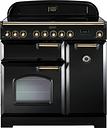 Rangemaster Classic Deluxe 90 Electric Range Cooker - Black & Brass, Black