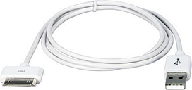 QVS AC-1M White USB Sync & Charger Cable for iPod/iPhone & iPad/2/3