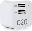 C2G 22322 2-Port USB Foldable Wall Charger for Apple, Android and Tablets - Compatible with Samsung and iPhone - AC to USB Adapter, 5V 2.1A Output.