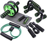 7-piece Power Roller Men's Sports Equipment Professional Household Abdominal Fitness Roller Roller Push Up Frame Jump Rope Fitness Workout Equipment