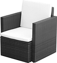 Garden Chair with Cushions and Pillows Poly Rattan Black
