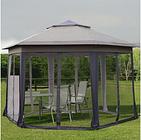 Double Roof Hexagon Patio Gazebo Garden Pop Up Canopy