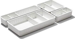oxo good grips adjustable bathroom drawer bin with removable dividers - 4 piece complete set