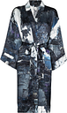 Märta Larsson - Rossellini graphic-print dressing gown - women - Silk - S/M, M/L - Blue