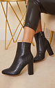 Croc Wide Fit Behati Block Heeled Ankle Boot, Black Patent