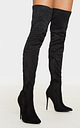Emmi Black Faux Suede Extreme Thigh High Heeled Boots, Black
