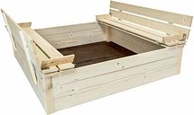 Kids Children's Square FSC Wood Sand Pit With Seat Benches - Brown - Charles Bentley