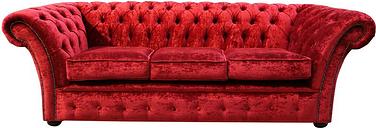 Chesterfield Balmoral 3 Seater Sofa Settee Velvet Modena Pillarbox Red