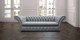 Chesterfield Balston 3 Seater Sofa Settee Buttoned Seat Silver Grey Leather - DESIGNER SOFAS 4 U