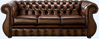 Chesterfield Kimberley Antique Tan Leather 3 Seater Sofa Offer