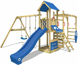 Wooden climbing frame Smart Dock with swing set and blue slide, Garden playhouse with sandpit, climbing wall & play-accessories - Wickey