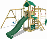 Wooden climbing frame Smart Dock with swing set and green slide, Garden playhouse with sandpit, climbing wall & play-accessories - Wickey