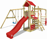 Wooden climbing frame Smart Dock with swing set and red slide, Garden playhouse with sandpit, climbing wall & play-accessories - Wickey