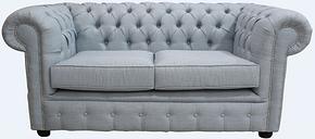 DesignerSofas4U   Buy Sky Blue linen Chesterfield 2 Seater