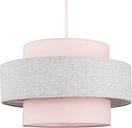 Ceiling Pendant Light Shade Pink & Grey Herringbone Finish - 10W LED Gls Bulb Warm White - MINISUN