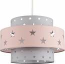 Pink & Dark Grey Cut Out Star Ceiling Pendant Light Shade 10W LED Gls Bulb Warm White - MINISUN
