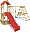 Wooden climbing frame StarFlyer with swing set and red slide, Garden playhouse with sandpit, climbing ladder & play-accessories - Wickey