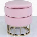 CIMC Blush Pink Velvet And Gold Metal Round Storage Ottoman Stool / Gold