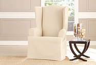 Heavyweight Cotton Duck Wing Chair Relaxed Fit Machine Washable - Wing Chair / T-Cushion / Natural