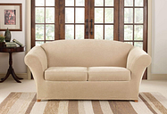 Stretch Piqué Three Piece Loveseat Slipcover Form Fit Machine Washable - Loveseat / Box Cushion / Cream