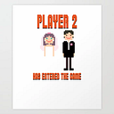 Player 2 Has Entered The Game Wedding Video Games Art Print by Zippythread - X-LARGE