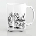 Vintage Alice In Wonderland Mad Hatter & Rabbit Tea Party Antique Goth Emo Book Gothic Drawing Print Coffee Mug by Igallery - 15 oz