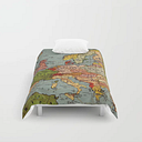 """Vintage Europe Map Comforters by Heritageandheart - Twin XL: 68"""" x 92"""""""
