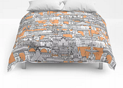 "Paris Toile Cantaloupe Comforters by Sharon Turner - Full: 79"" x 79"""