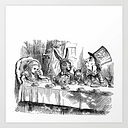 Vintage Alice In Wonderland Mad Hatter & Rabbit Tea Party Antique Goth Emo Book Gothic Drawing Print Art Print by Igallery - X-Small