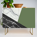 Black And White Marble With Pantone Kale Modern Credenza Cupboard by Santo Sagese - Gold - Birch