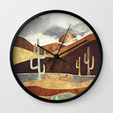 Patina Desert Wall Clock by Spacefrogdesigns - Black - Black