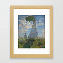 Claude Monet - Woman With A Parasol Framed Art Print by Elegant Chaos Gallery - Conservation Natural - X-Small-10x12